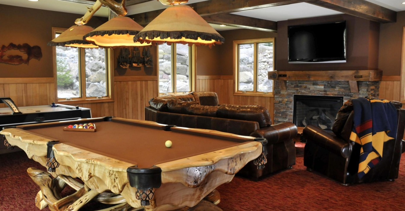 Man Cave with Entertainment Center and Pool Table